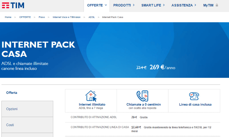 Offerte ADSL Tim: Tim Internet Pack Casa - Komparatore.it