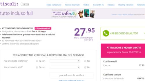 Tiscali ADSL: Tutto Incluso Full in Promozione