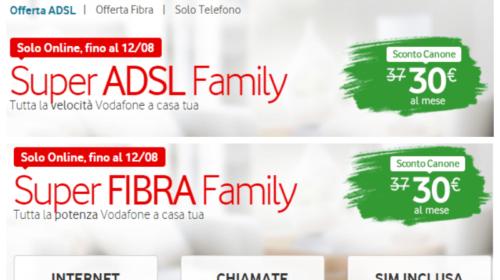 Offerte Vodafone: Super ADSL Family e Super Fibra Family